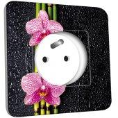Prise décorée  Bambou orchidée