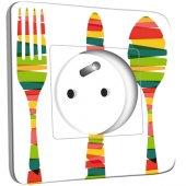 Prise décorée  Cuisine Couverts Multicolorés