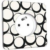 Prise décorée  Design Ronds Black&White