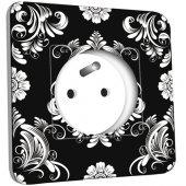 Prise décorée  Fleurs Abstrait Black&White 1