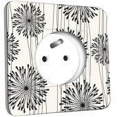 Prise décorée  Fleurs design Black&White 1