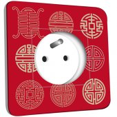 Prise décorée Motif Chinois Rouge