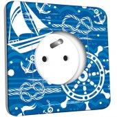Prise décorée  Motif Marin Bleu Abstrait 1