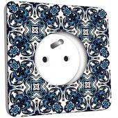 Prise décorée  Motif Oriental Bleu