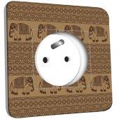 Prise décorée  Motif Oriental Eléphants