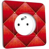Prise décorée Motif Oriental Rouge Matelassé