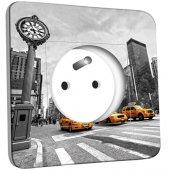 Prise décorée New York Black&White Taxis Jaunes