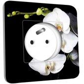Prise décorée  Orchidées Fond Noir