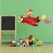 Autocollant Stickers enfant jeune aviateur ballons
