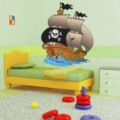 Autocollant Stickers enfant bateau voile pirate