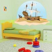 Autocollant Stickers enfant bateau pirate échoué