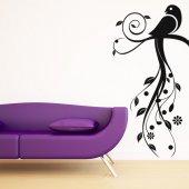 Stickers Branche Oiseau Fleur