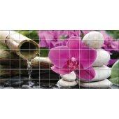 Stickers carrelage fleur galets