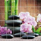 Stickers carrelage fleurs galets