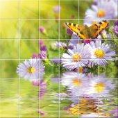 Stickers carrelage fleurs papillons