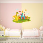 Autocollant Stickers enfant chateau dragon