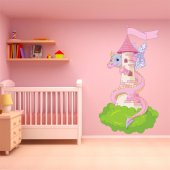 Autocollant Stickers enfant chateau et dragon