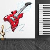 Autocollant Stickers ado guitare rouge