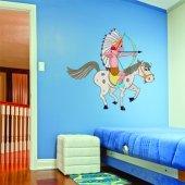 Autocollant Stickers enfant indien à cheval