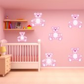 Autocollant Stickers enfant kit 6 ourson rose