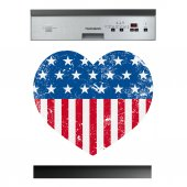 Stickers lave vaisselle coeur usa