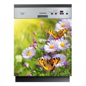Stickers lave vaisselle fleur papillon