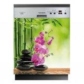 Stickers lave vaisselle fleurs galets