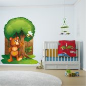Autocollant Stickers enfant ourson abeille