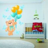 Autocollant Stickers enfant ourson ballons