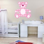 Autocollant Stickers enfant ourson carreau rose