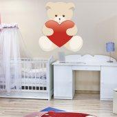 Autocollant Stickers enfant ourson coeur rouge