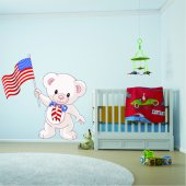 Autocollant Stickers enfant ourson drapeau USA