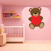 Autocollant Stickers enfant ourson grand coeur