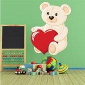 Autocollant Stickers enfant ourson gros coeur