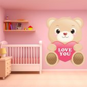 Autocollant Stickers enfant ourson i love you
