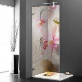 Stickers Paroi de douche semi translucide orchidée rose