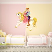 Autocollant Stickers enfant prince et princesse a cheval