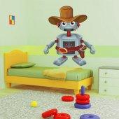 Autocollant Stickers enfant robot cowboy