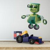 Autocollant Stickers enfant robot vert