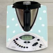 Stickers Thermomix TM31 Bleu a pois blanc