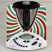Stickers Thermomix TM31 Rayé turquoise et rouge