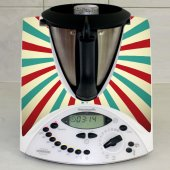 Stickers Thermomix TM31 Rayé turquoise et rouge 2