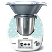 Stickers Thermomix TM5 Bleu a pois blanc