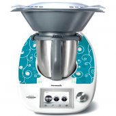 Stickers Thermomix TM5 Liseret sur fond turquoise
