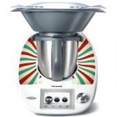 Stickers Thermomix TM5 Rayé turquoise et rouge 2