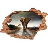 Stickers Trompe l'oeil 3D Eléphant