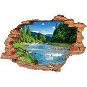 Stickers Trompe l'oeil 3D fleuve