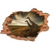 Stickers Trompe l'oeil 3D girafe