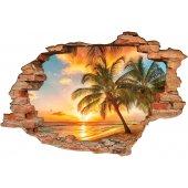 Stickers Trompe l'oeil 3D tropique