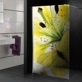 Transparentna Naklejka na Kabiny Prysznicowe Kolor - Kwiat i Motyl